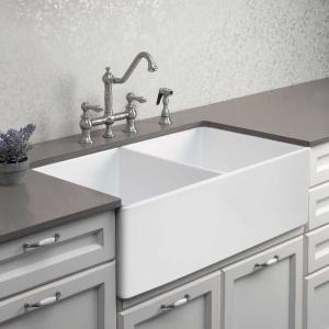 Platus Fireclay Apron Front or Undermount Double Basin 33″ Kitchen Sink, White