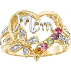 Personalized Family Jewelry áBirthstone Blessing Mother's Ring available in Sterling Silver, Gold and White Gold