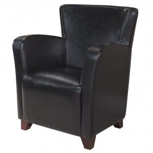 30″ x 30″ x 35″ Black, Foam, Solid Wood, Leather-Look – Accent Chair