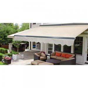 ALEKO 20'x10′ Sunshade Half Cassette Motorized Retractable Patio Deck Awning, Ivory Color