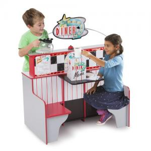 Melissa & Doug Double-Sided Wooden Star Diner Restaurant Play Space