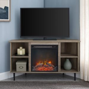 Manor Park Corner Fireplace TV Stand for TVs up to 55″, Grey Wash