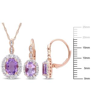 3-7/8 Carat T.G.W. Amethyst, White Topaz and Diamond-Accent 14k Rose Gold 2-Piece Halo Pendant and Earrings Set