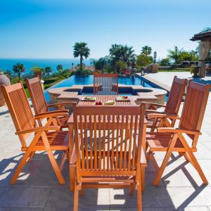 Malibu Outdoor 7-piece Wood Patio Dining Set with Reclining Chairs
