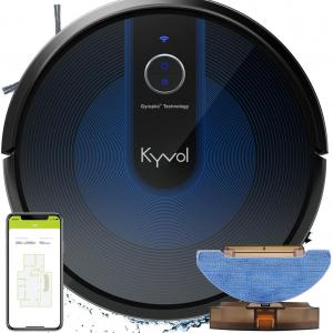 Kyvol Cybovac E31 Robot Vacuum Cleaner, Sweeping & Mopping Robotic Vacuum with 2200Pa Suction, Smart Navigation, 150mins Runtime, Works with Alexa, Self-Charging, Ideal for Pet Hair, Floor and Carpets