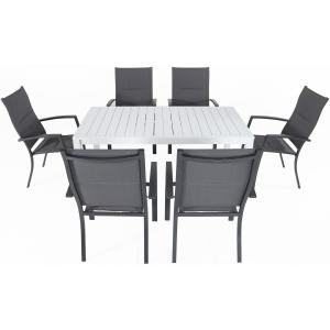 Hanover Del Mar 7-Piece Outdoor Dining Set w/ 6 Padded Sling Chairs in Gray and 40″ x 78″ Dining Table