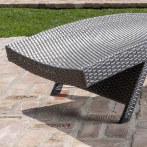 Outdoor Grey Wicker Chaise Lounge (Set of 4)
