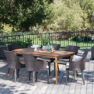 Alexa Outdoor 7 Piece Wicker Rectangular Dining Set with Acacia Wood Table and Cushions, Teak Finish, Multibrown, Light Brown