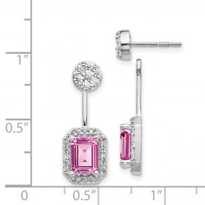Primal Gold 14 Karat White Gold Diamond and Created Pink Sapphire Earrings