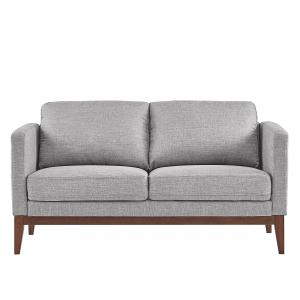 Weston Home Riley Linen Upholstered Loveseat with Wood Legs, Grey