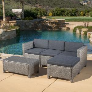 Cascada 5 piece Outdoor Wicker Sofa Sectional with Table and Cushions, Black and Grey