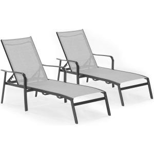 Hanover Foxhill 2-Piece All-Weather Commercial-Grade Aluminum Chaise Lounge Chair Set with Sunbrella Sling Fabric
