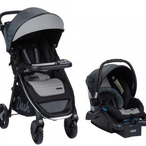 Monbebe Dash All in One Travel System with Memory Foam, Gray and Black Pinstripe