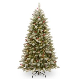 National Tree Company 7.5 ft. PowerConnect(TM) Snowy Bristle Berry Tree with Dual Color® LED Lights