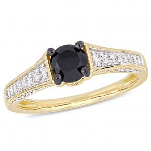 1 Carat T.W. Black and White Diamond 14kt Yellow Gold Engagement Ring