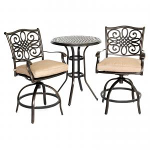 Hanover Outdoor Traditions 3-Piece High-Dining Bistro Set, Natural Oat/Bronze