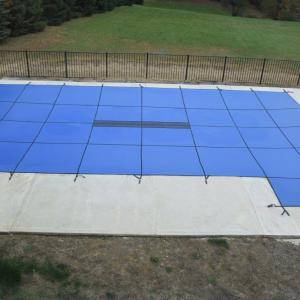 WaterWarden Inground Pool Safety Cover, Fits 16' x 32, Right End Step, Solid Blue, With Center Drain Panel