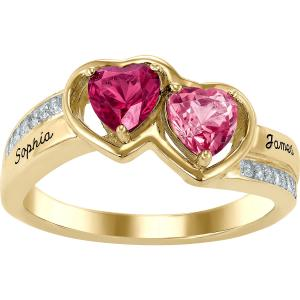 Personalized Birthstone Women's Pizzazz Ring Available In Sterling Silver, 10k Gold And 14k Gold