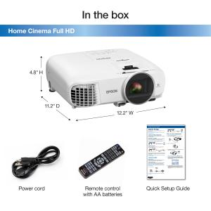 Epson Home Cinema Full HD, 1080p, 2,500 lumens color brightness (color light output), 2,500 lumens white brightness (white light output), 2x HDMI (1 MHL), 3LCD projector