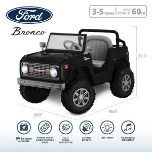 Classic Ford Bronco, 6-Volt Ride-On Toy by Kid Trax, ages 3 to 5, black