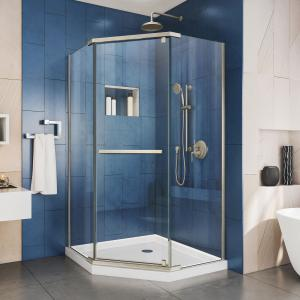 DreamLine Prism 40 1/8 in. x 72 in. Frameless Neo-Angle Pivot Shower Enclosure in Brushed Nickel