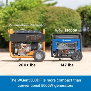 Westinghouse WGen5300DF Dual Fuel Portable Generator with 120/240 Volt Selector – 5300 Rated & 6600 Peak Watts – Gas or Propane Powered – CARB Compliant – RV and Transfer Switch Ready