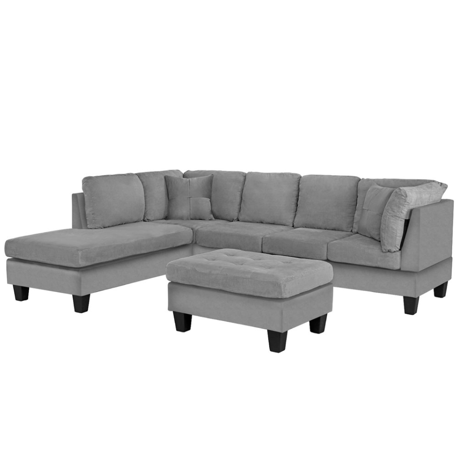 3 Piece Modern Soft Reversible Linen Sectional Sofa with Ottoman, Grey