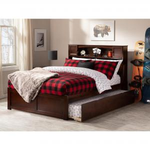 Newport Platform Bed with Flat Panel Foot Board and Twin Size Urban Trundle Bed, Multiple Colors, Multiple Sizes