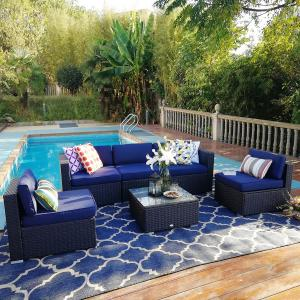 MF Studio 6 Pieces Outdoor Patio Sectional Sofa Sets All-Weather PE Rattan Conversation Sets With Glass Table(Blue)