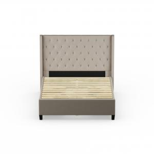Reed Upholstered Platform King Bed with 4 Side Storage Drawers, Dove Gray