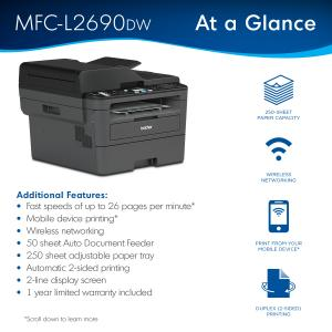 Brother MFC-L2690DW Monochrome Laser All-in-One Printer, Duplex Printing, Wireless