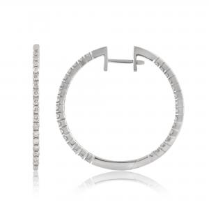 1.0 Carat T.W. Diamond 14K White Gold Hoop Earring. (J/I2-I3)