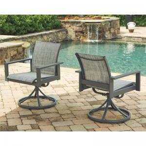Signature Design by Ashley Okada Gray Contemporary Sling Swivel Chair – Set of 2