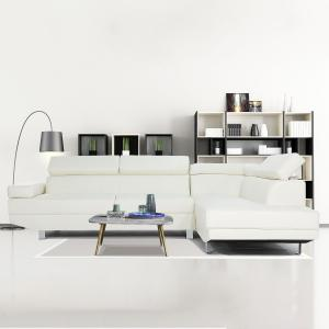 Mobilis 2 pc Modern Faux Leather Right Facing Chaise Sectional Sofa, White