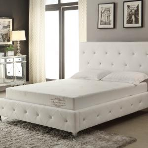 AC Pacific White Modern Crystal Tufted King Bed