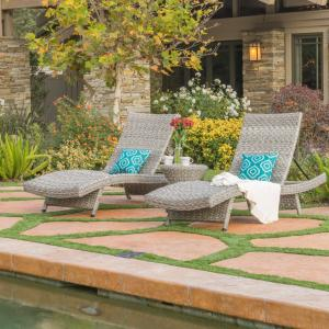 Julian Outdoor Wicker Chaise Lounge, Set of 2, with Wicker Table, Grey