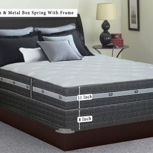 Continental Sleep, 11-inch Fully Assembled Innerspring Firm Mattress and 8″ Semi Flex Box Spring with Frame, Twin Size