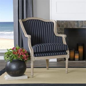 Baxton Studio Charlemagne Traditional French Accent Chair, Oak with Blue Stripe