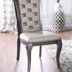 Furniture of America Tara Upholstered Dining Chairs – Set of 2, Gray