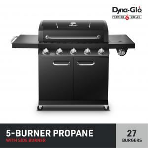 Dyna-Glo Premier 5 Burner Propane Gas Outdoor BBQ Grill with Side Burner