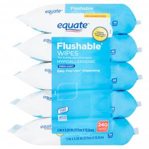 Equate Flushable Wipes, Fresh Scent, 5 packs of 48 wipes, 240 wipes total
