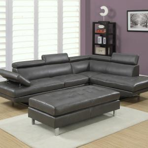 Logan Collection 3-piece Sectional Sofa Set w/Bonded Leather. Left Facing Style in Gray Color