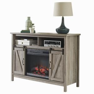 Better Homes & Gardens Modern Farmhouse Fireplace Credenza for TVs up to 50″, Rustic Gray Finish