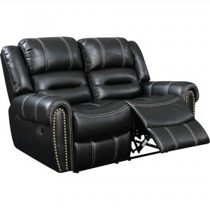 Furniture of America Contemporary Faux Leather Reclining Loveseat, Black