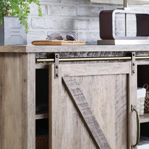 Better Homes & Gardens Modern Farmhouse TV Stand for TVs up to 70″, Rustic Gray Finish