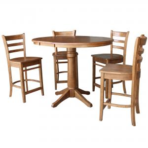 36″ Round Extension Dining Table with 4 Stools
