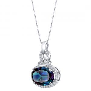 7.96 ct Oval Created Alexandrite and Lab Grown Diamond Pendant in 14K White Gold, 18″