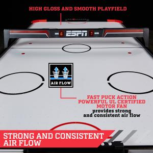 ESPN 60″ Air Hockey Game Table, LED Overhead Electronic Scorer, Quick Assembly, Red/Black