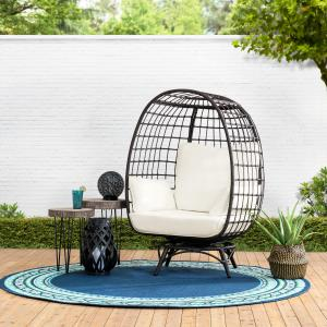 Sunjoy Brown Swivel Egg Cuddle Chair