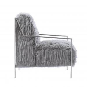 Chic Home Raisa Accent Side Chair Sleek Stylish Faux Fur Brushed Nickel Finished Stainless Steel Frame, Modern Contemporary, Grey